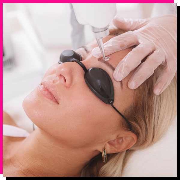 Woman getting a painless ADVATx laser treatment at Gleam Medical Spa